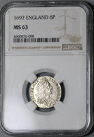 1697 NGC MS 63 William III 6 Pence Great Brtiain Mint State Coin (19102004C)