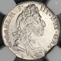 1697 NGC MS 64 William III 6 Pence Great Britain Mint State Silver Coin (19082502C)