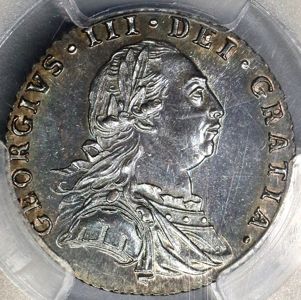 1787 PCGS MS63 George III 6 pence No Hearts Great Britain Scarrce Silver Coin (18101402C)