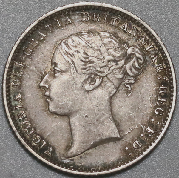 1871 Victoria 6 Pence Great Britain XF Sterling Silver Die 38 Coin (20082901R)