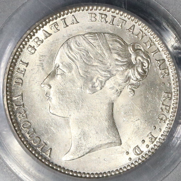 1874 PCGS MS 64 Victoria 6 Pence Die 28 Great Britain Silver Coin (17032802D)