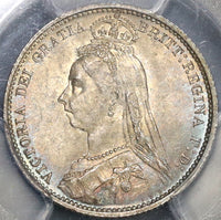 1887 PCGS MS64  Victoria 6 Pence Wreath Value Great Britain Silver Coin (19082101C)