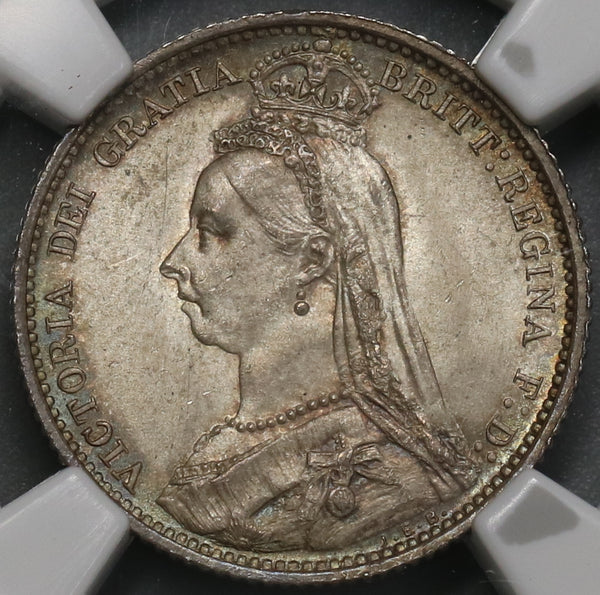 1887 NGC MS 64 Victoria 6 Pence Shield Great Britain Mint State Silver Coin (19072601C)