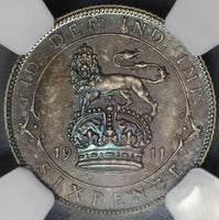 1911 NGC PF 66 Great Britain 6 pence George V Proof Silver Coronation Coin (18082606C)