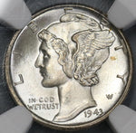 1943-D NGC MS 66 FB Mercury Dime United States Full Bands Silver Coin (19020608C)