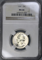 1941-P NGC MS 66 Washington Quarter Dollar United States Coin (19022101CE)