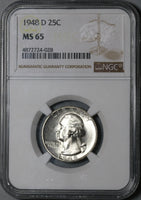 1948-D NGC MS 65 Washington Quarter Dollar United States 25 Cents Coin (20033002C)