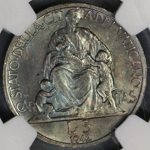 1942 NGC MS 65 Vatican 5 Lire Coin Caritas & Children 4K Coins POP 3/1 (19020505C)