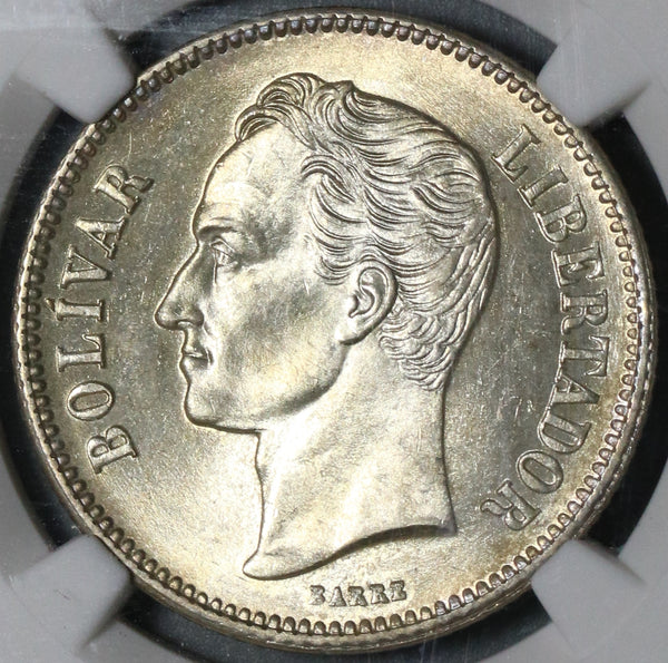 1936 NGC MS 63 Venezuela 2 Bolivares Silver Mint State Coin (20102703C)