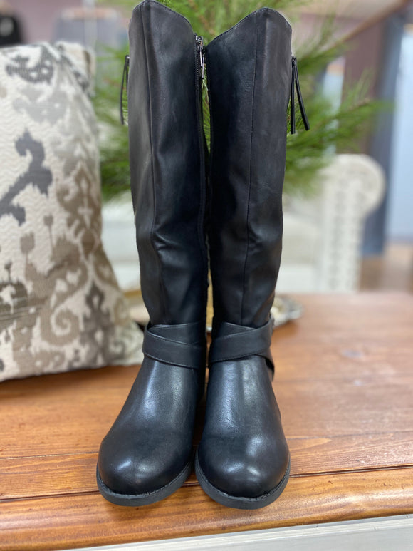 Qupid Plateau Tall Black Boots - Whitt & Co. Clothing