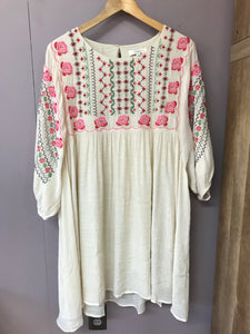 Umgee Plus Size Natural Dress with Embroidery - Whitt & Co. Clothing