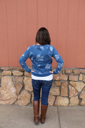 Lucky Brand Indigo Floral Sweatshirt - Whitt & Co. Clothing