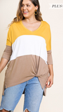 Umgee Plus 3/4 Sleeve Colorblock Twist Front Top - Whitt & Co. Clothing