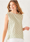 Charlie Paige Sleeveless Polka Dot Button Back Top - Whitt & Co. Clothing