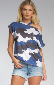 Elan Camo Off Shoulder Short Sleeve Top - Whitt & Co. Clothing