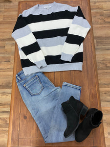 Miss Sparkling Stripe Crew Neck Sweater - Whitt & Co. Clothing