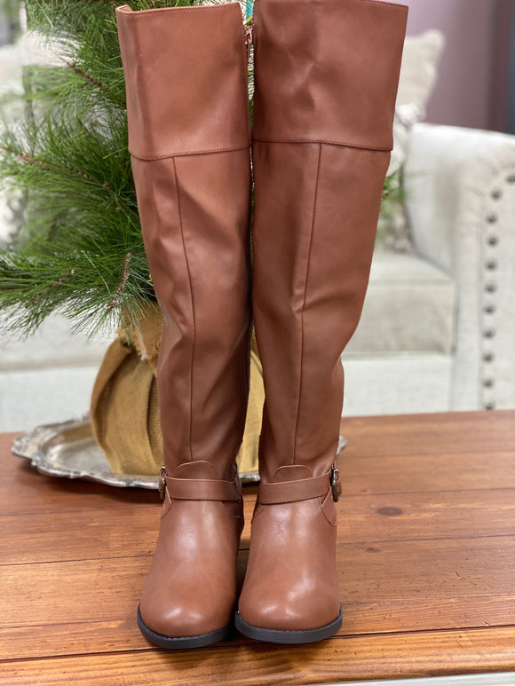 Qupid Cognac Knee High Boots - Whitt & Co. Clothing
