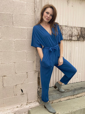 Aaron & Amber Half Sleeve Belted Surplice Jumpsuit - Whitt & Co. Clothing
