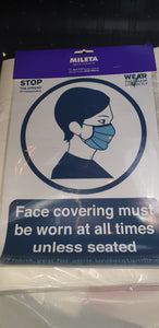Self adessive label sign  FACE COVERING MUST BE WORN