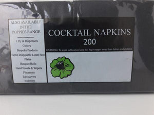Coctail napkin poppies BLACK 25cm box of 4000/1