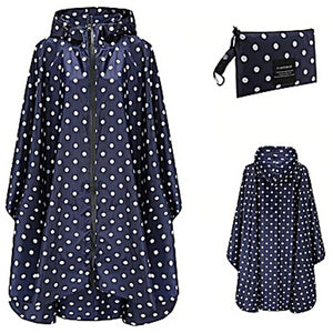 Women's Poncho - Navy Polka Dot