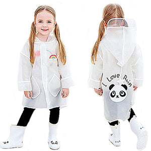 Children's Raincoat Panda -White