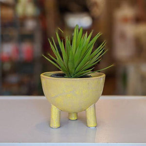 Yellow 3 legged plant pot - heart deco