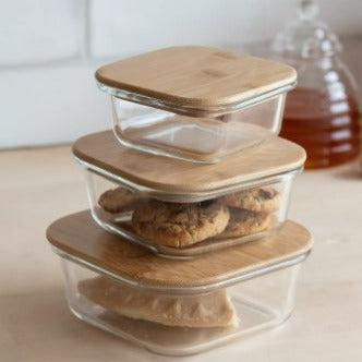 Bamboo Lidded Glass Storage Containers - heart deco