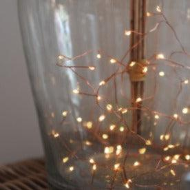 Copper Cluster Pin Fairy Lights - Battery Operated - heart deco