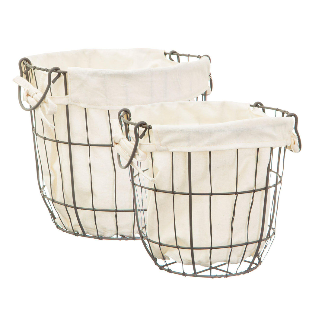 Set of Two Round Wire and Fabric Storage Baskets - hert deco
