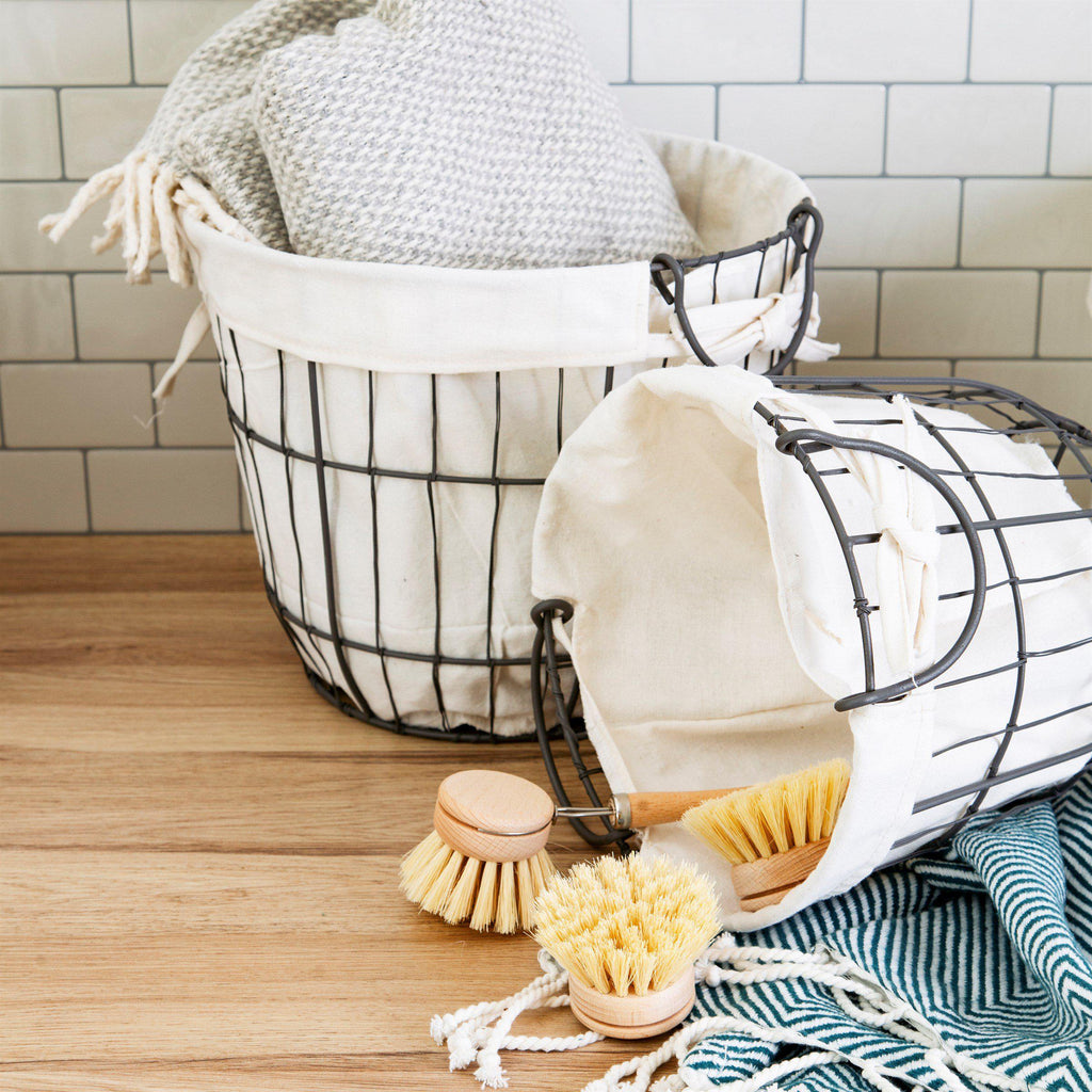 Set of Two Round Wire and Fabric Storage Baskets - heart deco