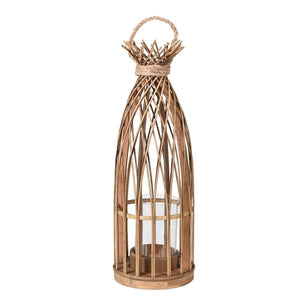 Natural Bamboo Lantern - heart deco
