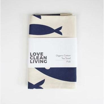 Liga Organic Tea Towel Fish Navy - heart deco