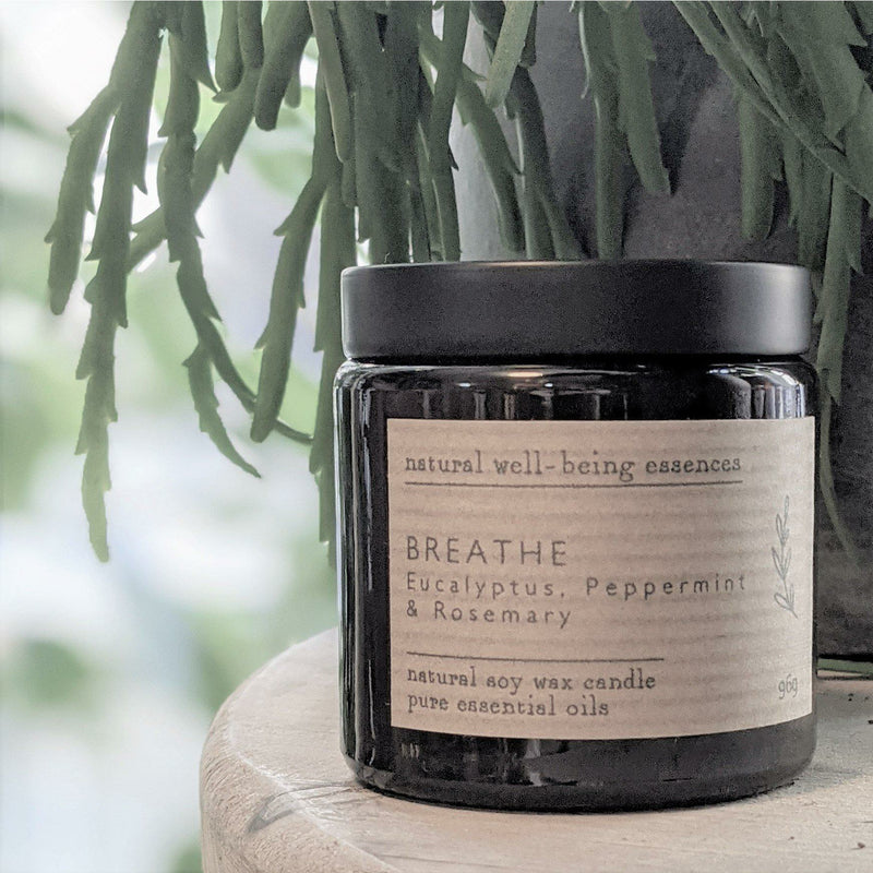 Breathe Essential Oil Blend Candle - heart deco