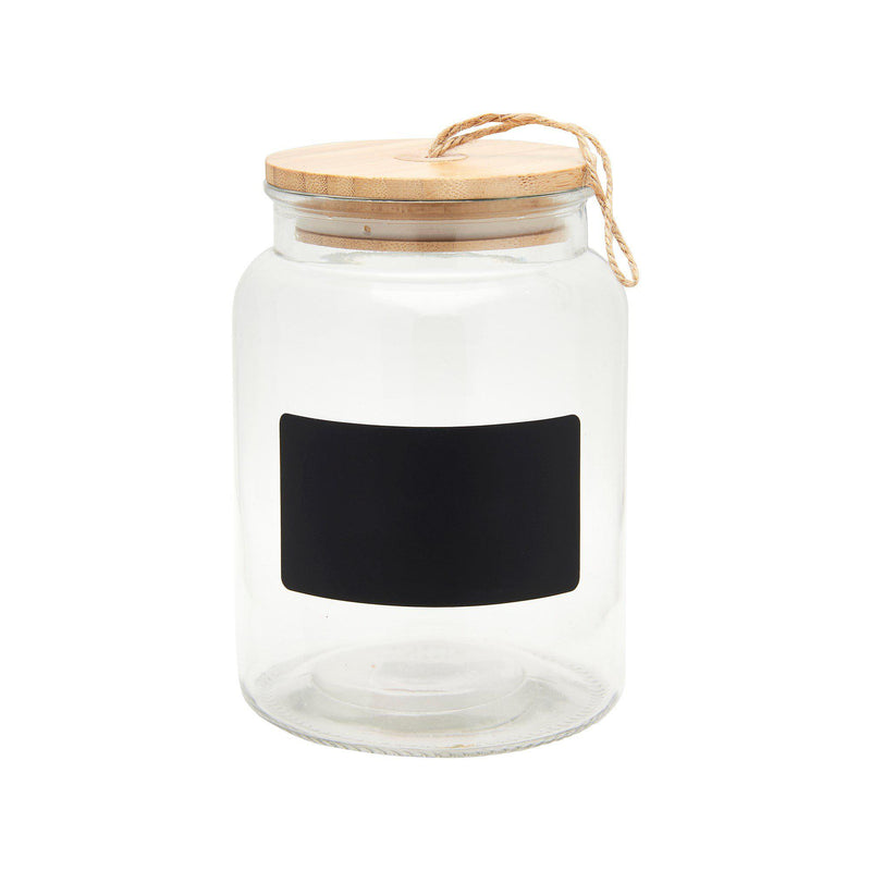 Glass Storage Jar with Bamboo Lid - heart deco