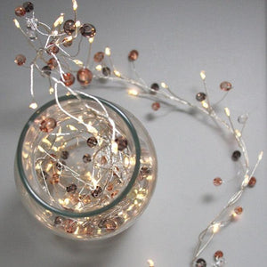 Coco and Copper Beaded Battery LED Fairy Lights - heart deco