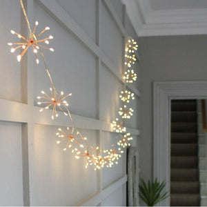 Starburst Copper Fairy Chain Lights - heart deco