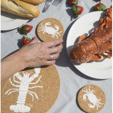 Liga Eco Crab Cork Placemat and Coaster - heart deco