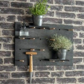 Black Wooden Weatherproof Peg Board - heart deco