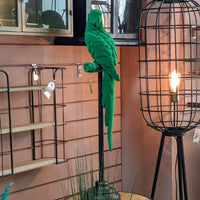 Green Flock Parrot on Stand - heart deco