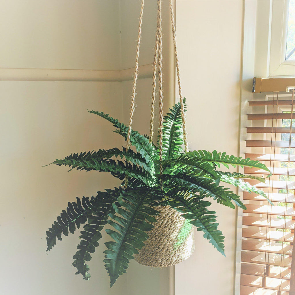 Tall Jute Hanging Basket - heart deco