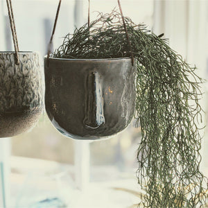 hanging stoneware planter - heart deco
