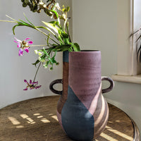 Dusty Blue and Rose Grey Vase - two sizes - heart deco