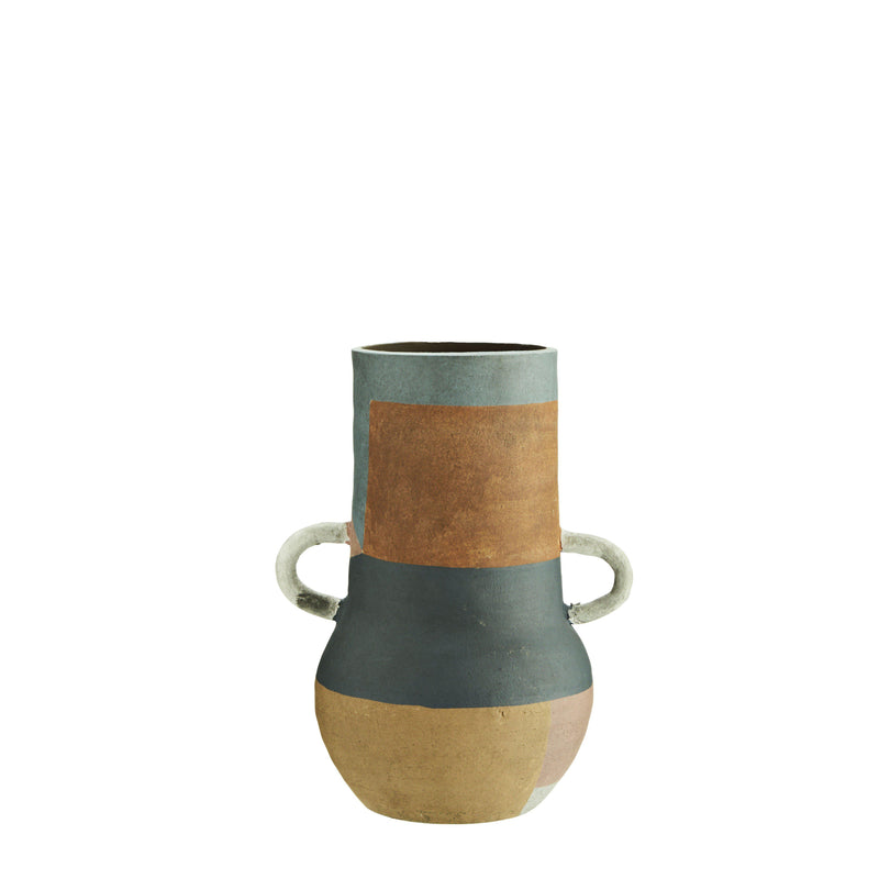 Large Terracotta Vase with handles-heart deco