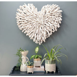 large white twig heart wall art-heart deco