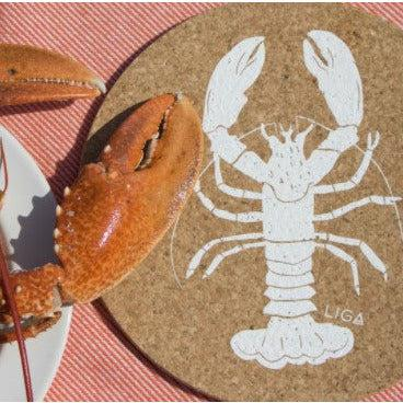 Liga Eco Lobster Cork Placemat and Coaster - heart deco