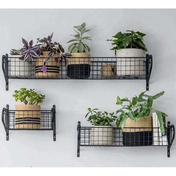 Black Steel Mesh Shelves - Three Sizes - heart deco