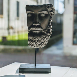 Socrates Head Ornament on Base - heart deco