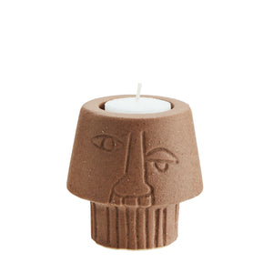 Stoneware Tealight Holder with Face Imprint- Brick red