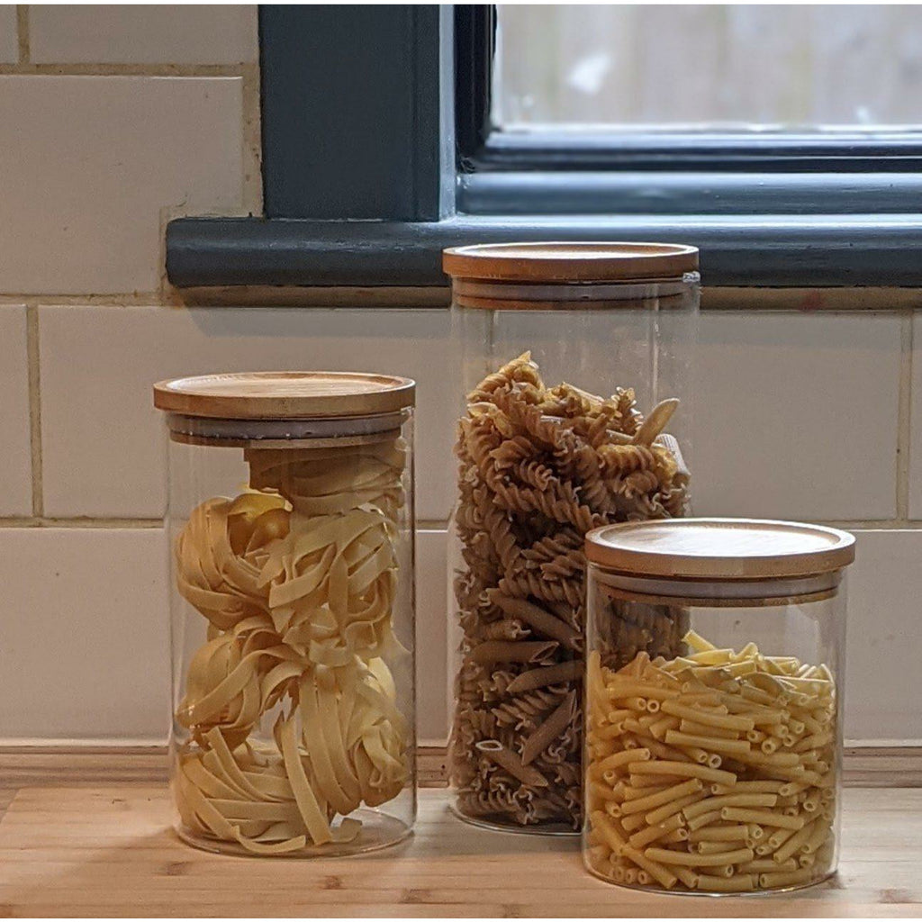 Bamboo Lid Borosilicate Storage Canisters - heart deco
